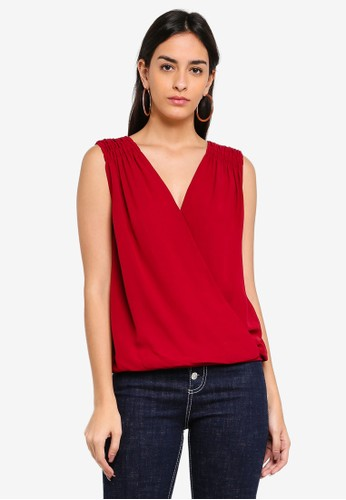 Max Studio red Solid Texture Surplice Top A755BAA80C9B1DGS_1