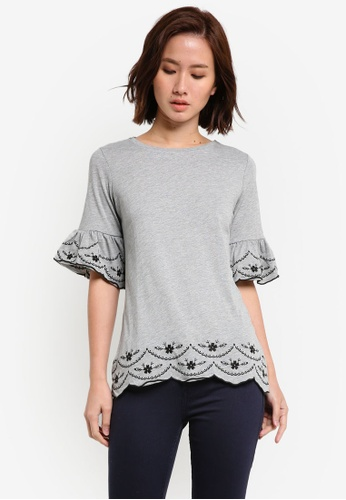 Dorothy Perkins grey Grey Embroidered Flute Top DO816AA0RI88MY_1