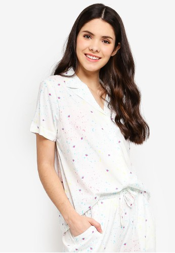 Supre white and multi Cotton Sleep Shirt 42F7FAAE1FB058GS_1
