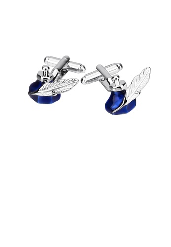 Glamorousky silver Fashion Creative Blue Ink Feather Pen Cufflinks 5D614ACE405ABDGS_1