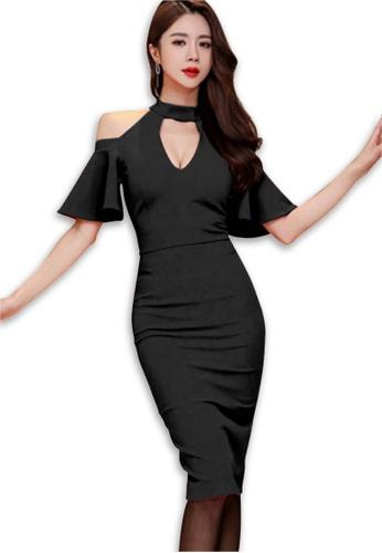 Sunnydaysweety black Black Shoulder Cut Off One Piece Dress CA043016BK B1743AA0F37654GS_1
