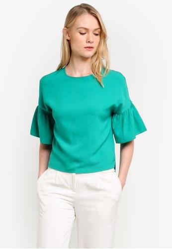ZALORA green Essential Ruffle Short Sleeve Top CCFA4ZZDAB5ECCGS_1