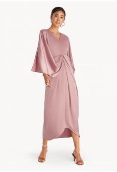 b3dca99cc59 Pomelo pink Maxi Drape Slit Sleeve Dress - Pink C0866AAA2F527EGS_1