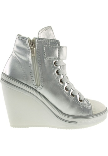 Maxstar silver Maxstar Women's 777 One Buckle Strap PU High Wedge Heel Sneakers US Women Size MA164SH19PTOSG_1