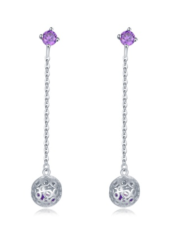 MBLife silver 925 Sterling Silver Dangle Ball with Purple CZ Earrings 4C201ACAD9A6C8GS_1