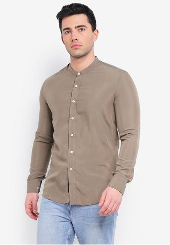 UniqTee brown Mandarin Collar Long Sleeve Shirt C84B8AA9A9D0A0GS_1