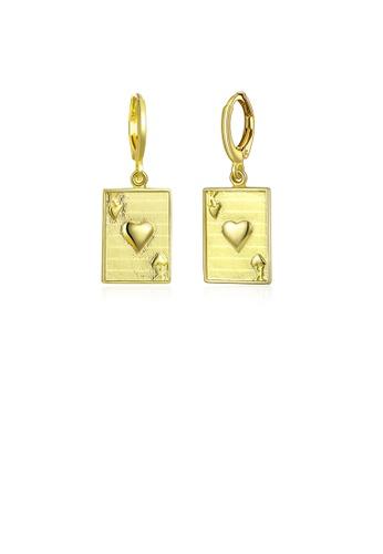 Glamorousky silver Fashion Elegant Plated Gold Poker K Earrings 9838BAC3A43489GS_1