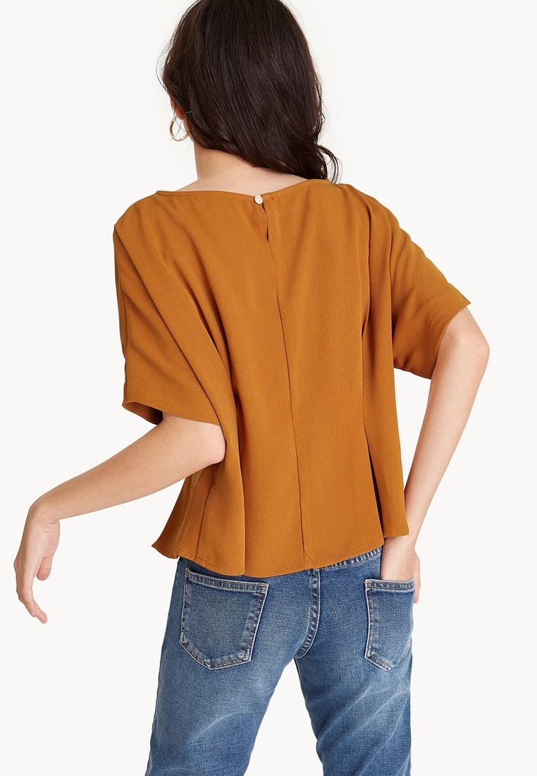Cinched Front Orange Orange Blouse Loose Pomelo 67fYTxT