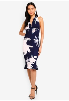 b24b896c8b2 AX Paris navy Floral Backless Fishtail Dress A9AE2AA1DC96ACGS 1