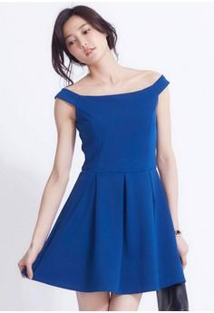[IMPORTED] Royal Lady Femme Off-Shoulder Dress - Blue
