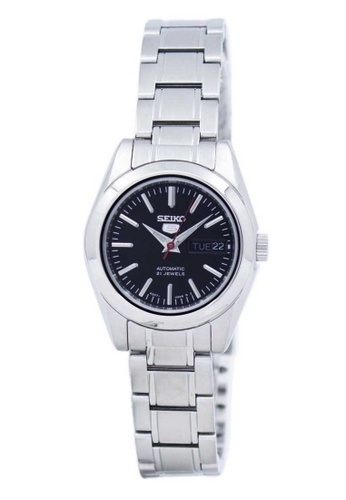Seiko silver Seiko 5 Black and Silver Stainless Steel Watch C7768AC248DCE8GS_1