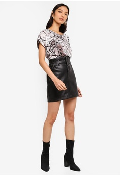 48e787b513 67% OFF River Island Elsie Button Front Mini Skirt S$ 62.90 NOW S$ 20.90  Sizes 10
