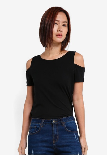 ZALORA BASICS black Cold Shoulder Tee 651B5AAACBAA31GS_1