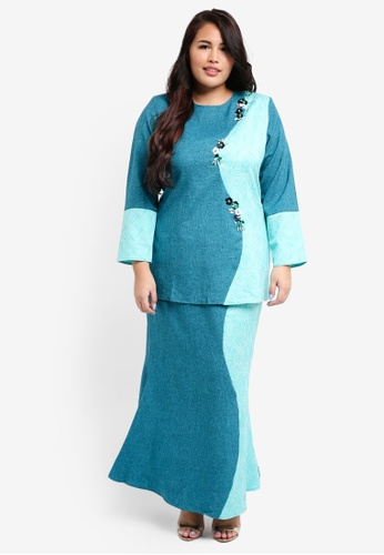 peace collections green Plus Size Embellished Kurung 38907AA32D824FGS_1
