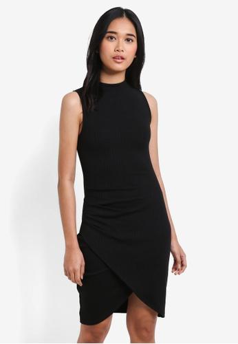 Something Borrowed black Wrap Rib Bodycon Dress E000BAAE1E6D24GS_1