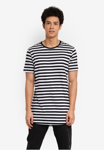 Cotton On 黑色 and 白色 休閒短袖長版T恤 FDDF0AADF69AEEGS_1