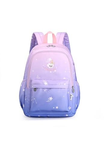 Lara 粉紅色 and 藍色 女孩漸變色多口袋背包 - 藍色 5B56CKC0BE072CGS_1