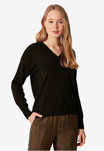 LC Waikiki black Shabby Thin Knit Sweater 7023EAAC884CDEGS_1