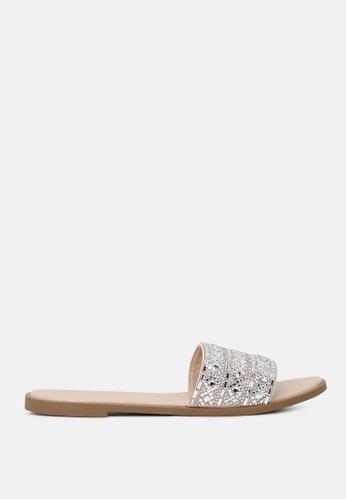 London Rag beige Mirror Embellished Flat Sliders 173DCSH97B7EEFGS_1