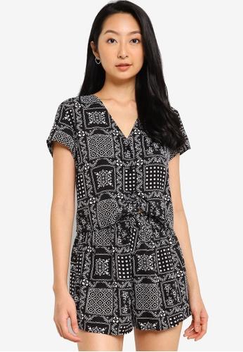 ZALORA BASICS black Front Tie Resort Shirt 39C53AA7BD4462GS_1