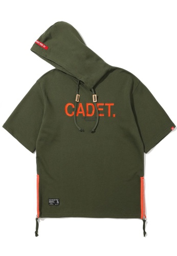 izzue green Side zip embroidered hoodie 885F3AAEF144E7GS_1