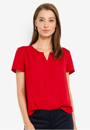 G2000 red V Neck Placket Short Sleeve Blouse A88A2AA1652B41GS_1