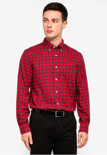 Brooks Brothers 紅色 長袖格紋襯衫 CDEB5AADB7B3D4GS_1
