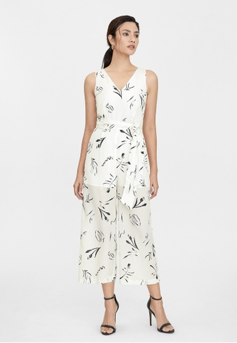 Pomelo white Abstract Scribble Print Jumpsuit - White E2EA5AA513D9B0GS_1