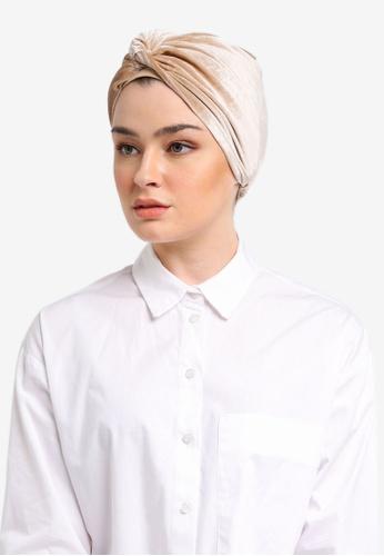 Lubna beige Velvet Turban 96329AA6688D6FGS_1