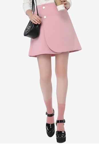 Hopeshow pink Overlap Button A-line Skirt 594FBAA7BE4E43GS_1