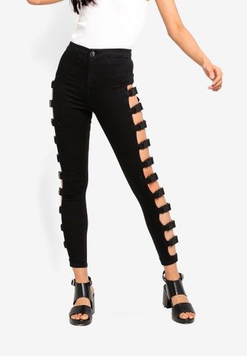 TOPSHOP black Black Buckle Joni Jeans 229D4AA45934F9GS_1