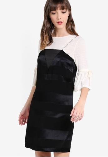 Mango black Stripe Textured Dress MA193AA27ZXGMY_1