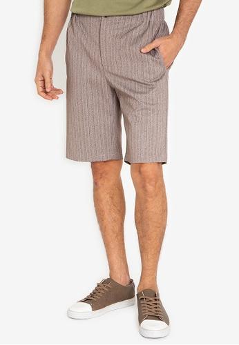 ZALORA BASICS grey Elastic Waist Tailored Shorts 0D1B2AA6C6AA6DGS_1