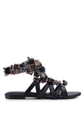 ZALORA 黑色 交叉繞帶涼鞋 7588BSH15C4A69GS_1