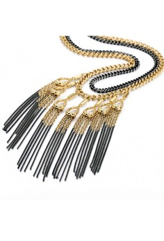 Armada Gold and Hematite Drape Necklace