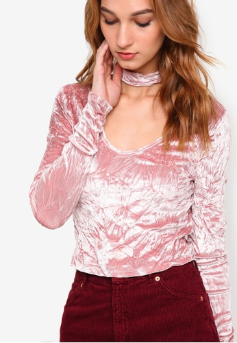 1facc42127502a Buy TOPSHOP Crushed Velvet Choker Top Online on ZALORA Singapore