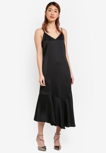 ZALORA black Asymmetric Slip Dress 8950AAAC8ED8C8GS_1