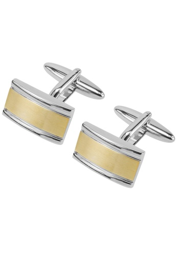 CUFF IT gold Brush Gold Two Tone Bridge Cufflinks CU047AC95WPCHK_1