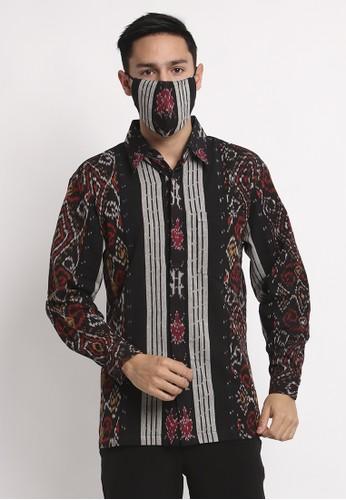 Batik Etniq Craft black Kemeja Tenun Pria Minho Black Set Masker 47C9DAA3763F34GS_1