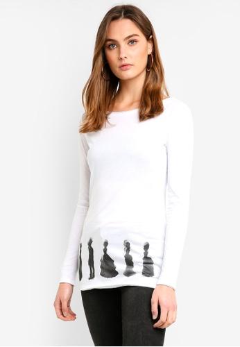 Sisley white Printed T-shirt FF22BAA35A4120GS_1