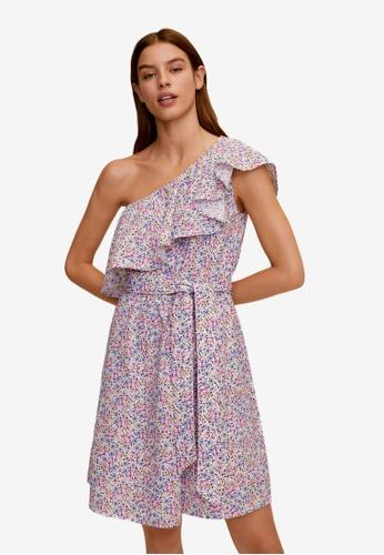 Mango 紫色 荷葉飾花卉洋裝 4D30EAA8CBFF15GS_1