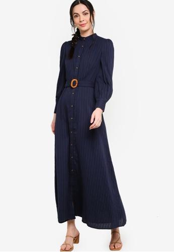 Zalia blue Belted Puff Sleeve Shirt Dress 6A9CCAA8761DC0GS_1