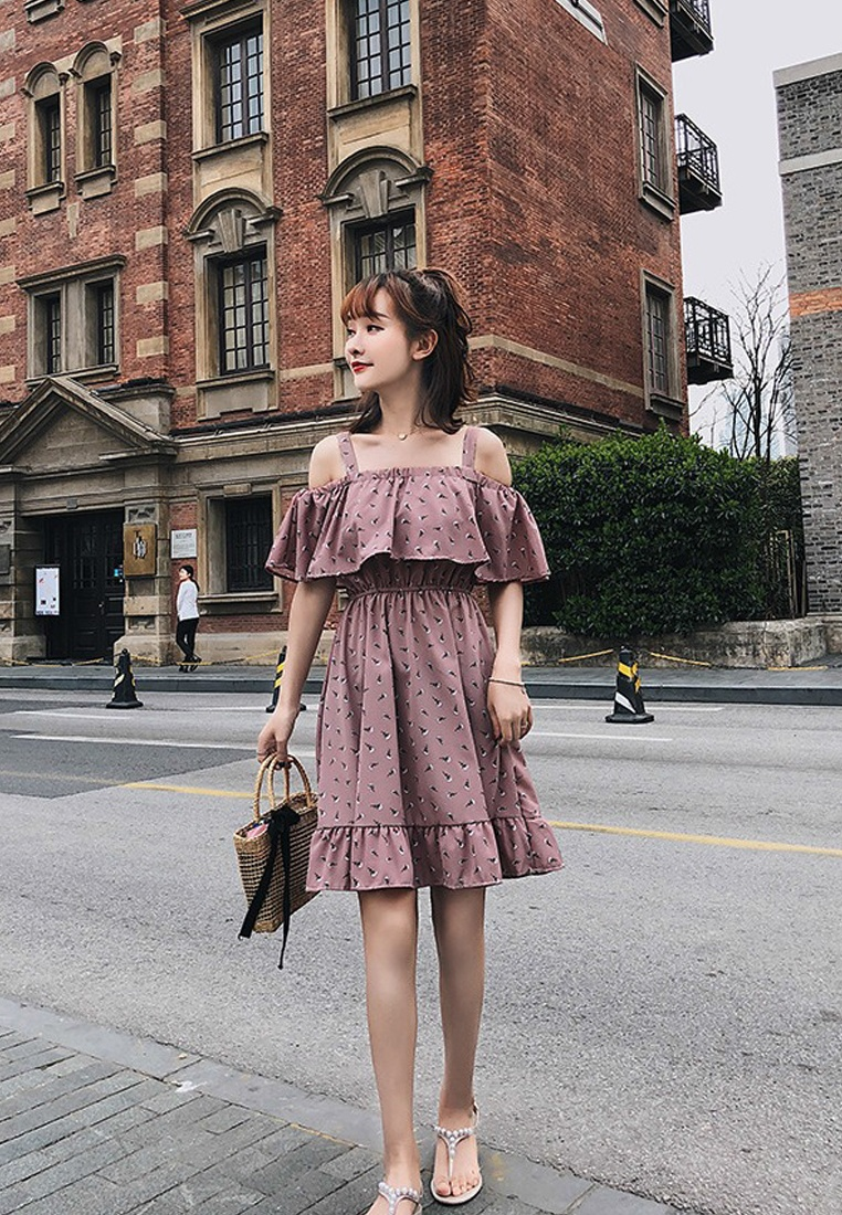 Piece Sunnydaysweety Multi Strap Pattern Chiffon New Dress One 2018 A051651 n81XqTwZCx