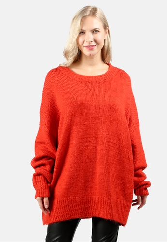 London Rag orange Crew Neck Oversize Sweater With Ribbed bottom And Cuffs 3FC07AA4C3A219GS_1