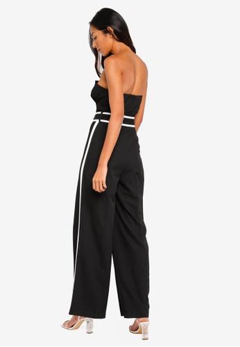 7173e3dfab Buy Miss Selfridge Black Side Stripe Bandeau Jumpsuit Online on ...