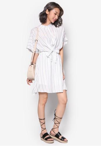 esprit outlet 高雄條紋繫帶襯衫洋裝, 服飾, 洋裝