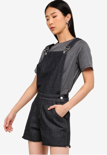 ZALORA BASICS black Basic Denim Dungaree 33583AAA470BD5GS_1