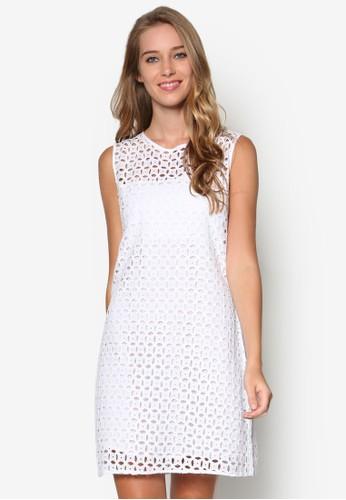 鉤針無袖直筒式洋裝, 服飾, zalora taiwan 時尚購物網洋裝