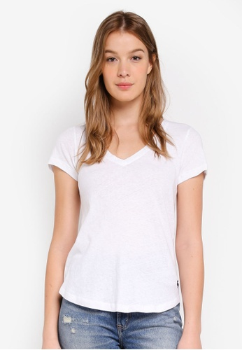 Abercrombie & Fitch white Slim Moose V-Neck Tee 8343BAA1FD6303GS_1