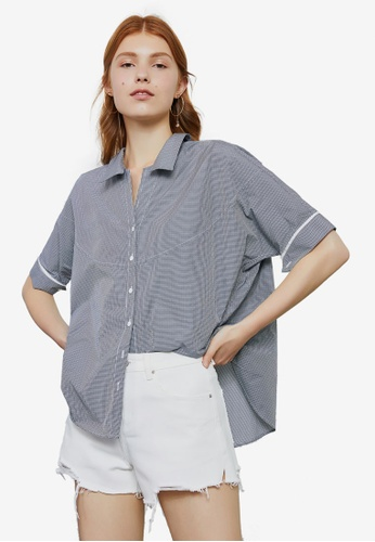 Hopeshow navy Checkered Button Blouse 9C99DAAAFED061GS_1